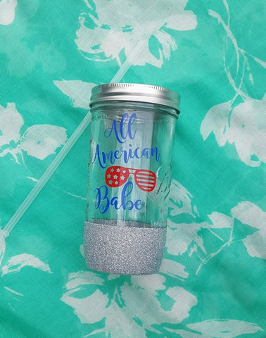 All American Babe Glitter Mason Jar, 4th of July Mason Jar