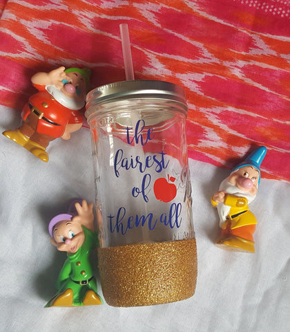 Snow White Mason Jar, Fairest Of Them All, Glitter Mason Jar, Disney Mason Jar