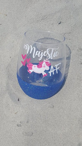Majestic AF Unicorn Glitter Wine Glass