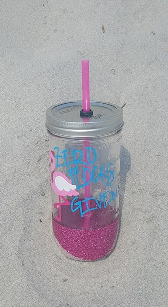 Zero Flocks Given Flamingo Mason Jar