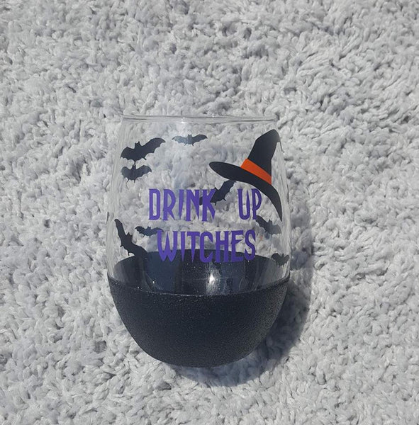 Drink Up Witches Glitter Wine Glass, Halloween Wine Glass