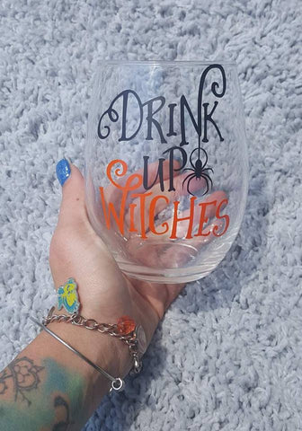 Drink Up Witches Spider Wine Glass, Halloween Wine Glass