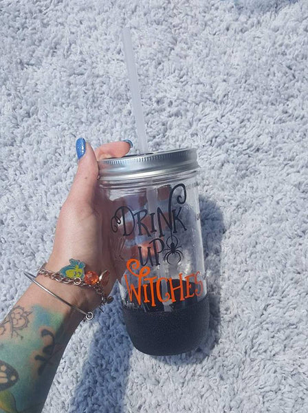 Drink Up Witches Glitter Mason Jar