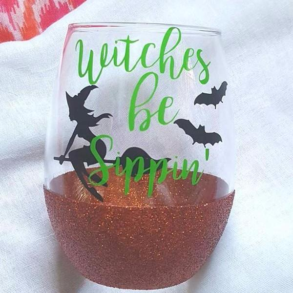 Witches Be Sippin Glitter Wine Glass, Halloween Wine Glass