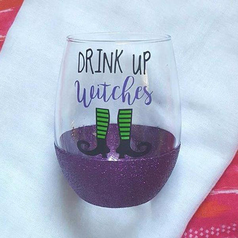 Drink Up Witches Boots Wine Glass, Halloween Wine Glass