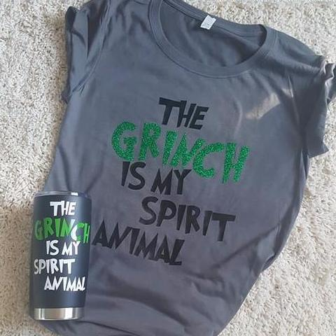 The Grinch Is My Spirit Animal Shirt / Tank Top COMBO With Mug Or Wine Glass!