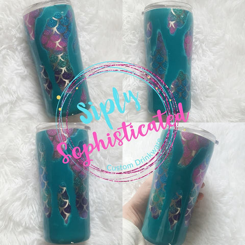 Geode Mermaid Scale Glitter Stainless Steel Tumbler