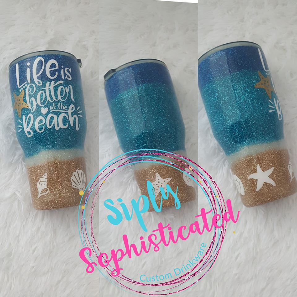 Beach Glitter Stainless Steel Tumbler
