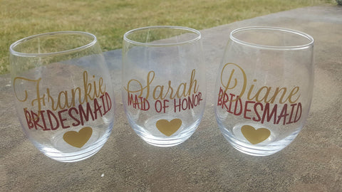 Bridesmaid Wine Glasses, Asking Bridesmaid, Bridesmaid Proposal, Bridesmaid Wine Glass