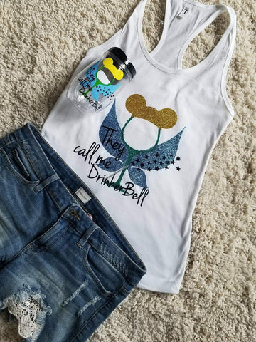 Tinkerbell Disney Princess  Epcot Tank Top And Cup Set