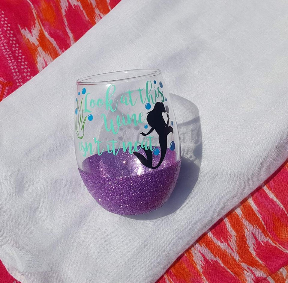 Look At This Wine Isn't It Neat Disney Glitter Cup