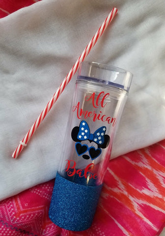 All American Babe Minnie Mouse Glitter Tumbler