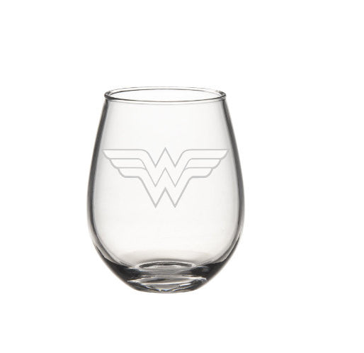 Wonder Women Wine Glass, Etched Wine Glass - Super Hero Wine Glass