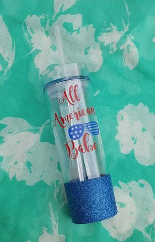 All American Babe 4th Of July Tumbler, Glitter Tumbler
