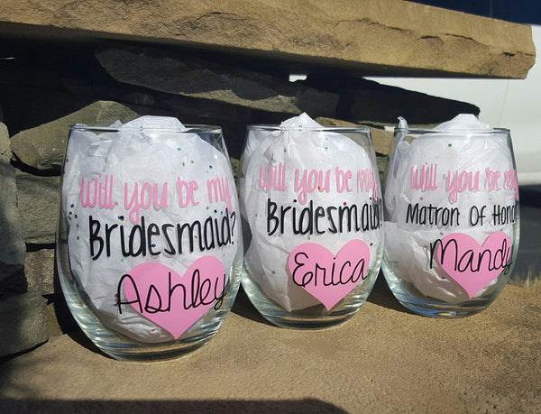 Will You Be My Bridesmaid Gift, Bridesmaid Wine Glass