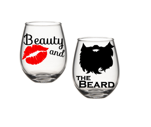 Beauty And The Beard Wine Glasses, Beauty And The Beast, His And Her Wine Glasses