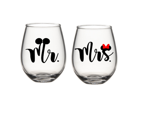 His And Her Disney Wine Glasses, Mr And Mrs Wine Glasses, Mickey And Minnie Glasses