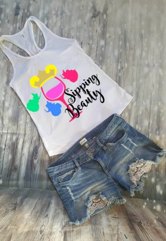 Sipping Beauty Sleeping Beauty Food And Wine Festival Tank Top