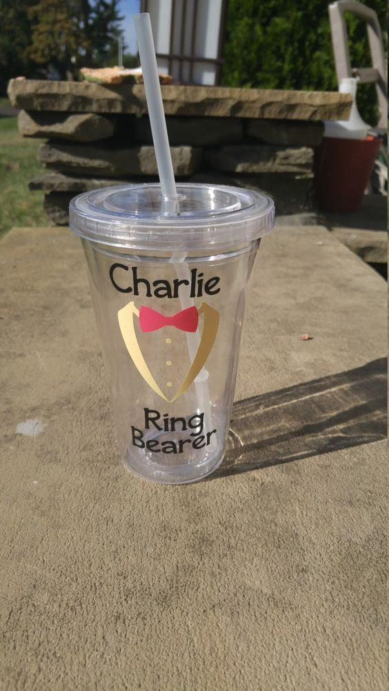 Ring Bearer Tumbler, Ring Bearer Cup, Personalized Ring Bearer Gift