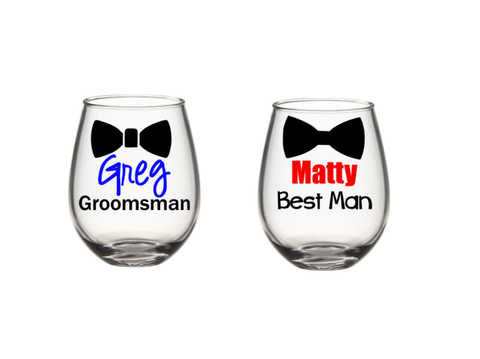Groomsmen Wine Glasses, Groomsmen Gift, Best Man, Wedding Favors