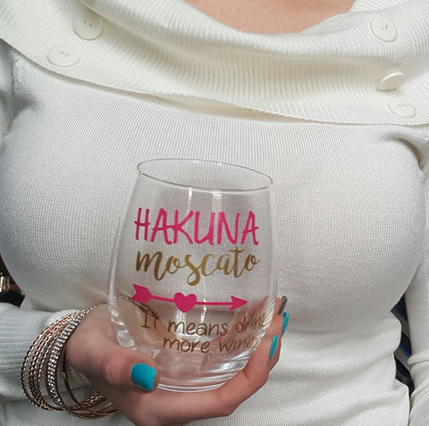 Hakuna Moscato Wine Glass, Funny Wine Glass, Cute Wine Glass
