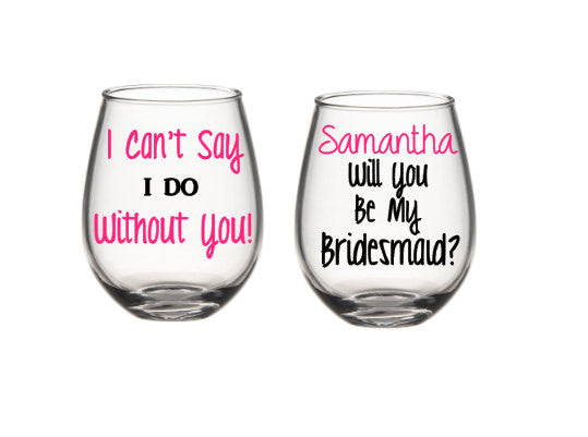 Will You Be My Bridesmaid, Bridesmaid Proposal, Bridesmaid Wine Glasses