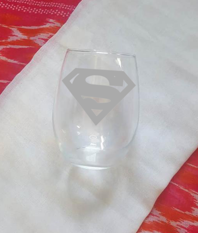 Super Man Wine Glass