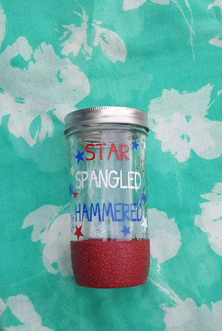 Star Spangled Hammered 4th of July Mason Jar, Glitter Dipped Mason Jar