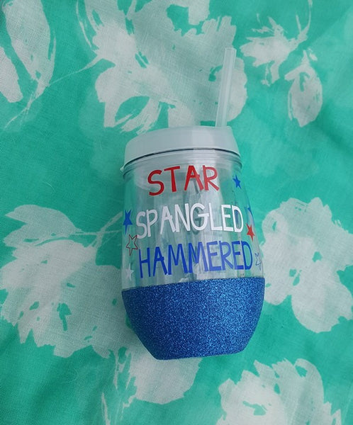 Star Spangled Hammered Tumbler, 4th Of July Tumbler, Glitter Tumbler