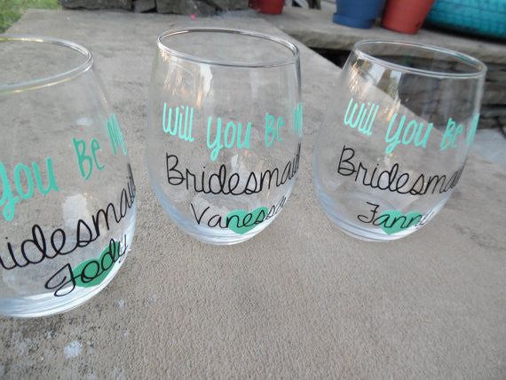Will You Be My Bridesmaid Wine Glasses, Asking Bridesmaid, Bridesmaid Wine Glasses
