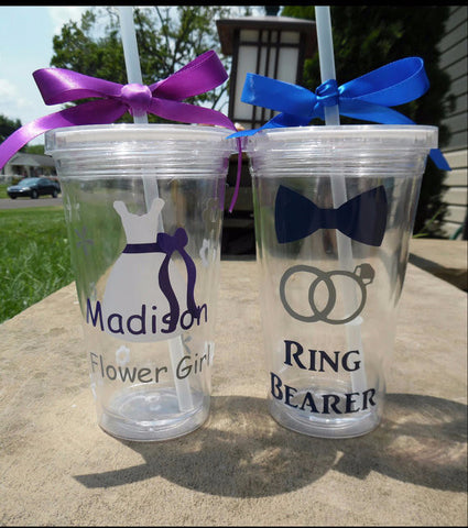Ring Bearer And Flower Girl Tumbler Set, Ring Bearer Cup Flower Girl Cup