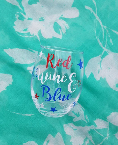 Red Wine & Blue Wine Glass 4th Of July Wine Glass