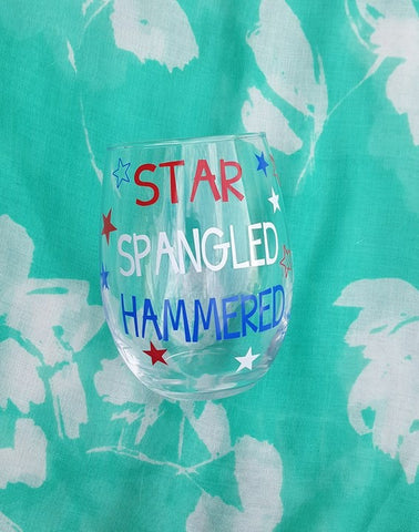 Star Spangled Hammered Wine Glass, 4th Of July Wine Glass