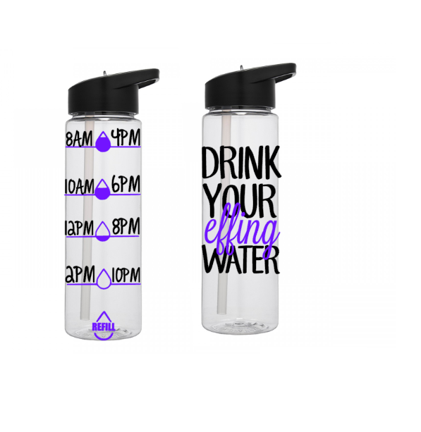 Motivational Water Bottle, Water Tracking Bottle, Drink Your Effing Water