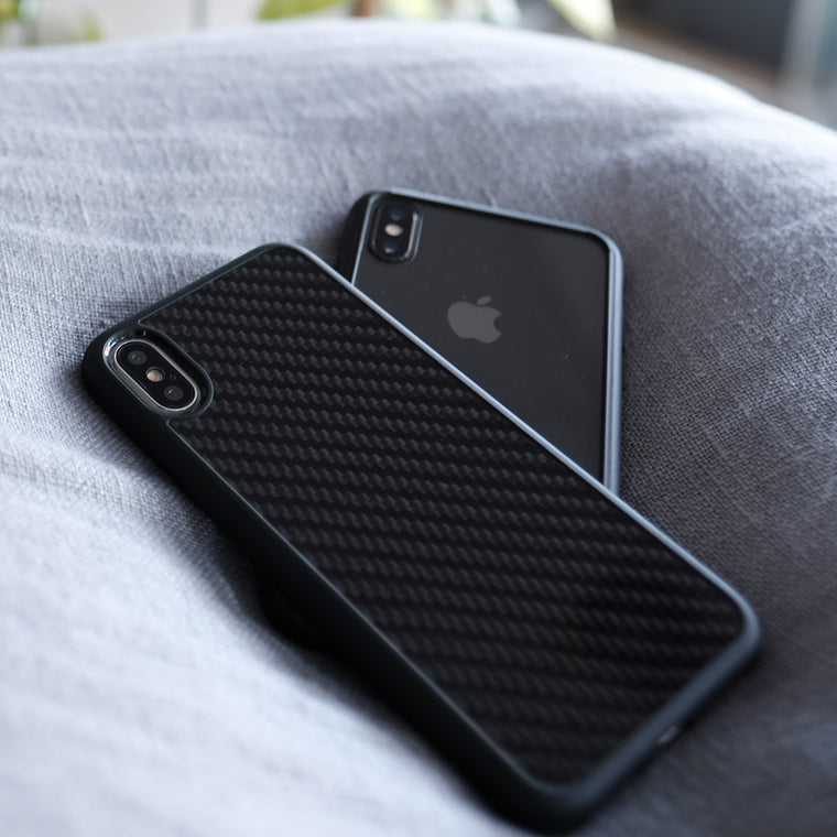 Bare Back Minimlist Case for iPhone X - Glass and Carbon