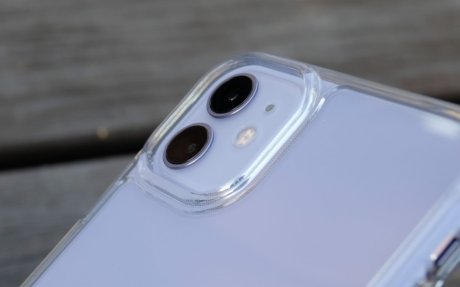 Bare Back Minimlist Shock Resistant Case with a Glass Back for iPhone 11 - Camera Lip