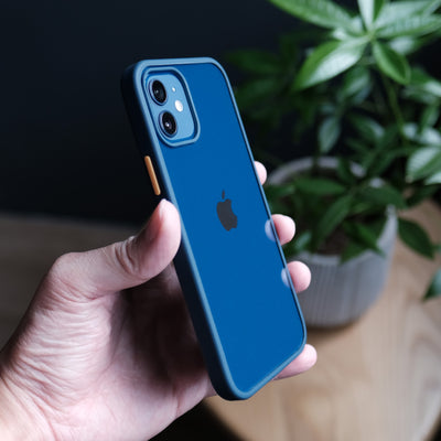 Bare Armour - Minimalist Shock Resistant Case for iPhone 12 and iPhone 12 mini - Blue - Side
