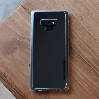 Bare Back Minimlist Shock Resistant Case with a Clear Glass Back for Samsung Galaxy Note 9