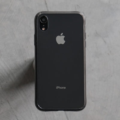 Bare Back Minimlist Shock Resistant Case with a Clear Glass Back for iPhone XR - Black