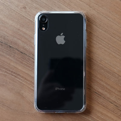 Bare Back Minimlist Shock Resistant Case with a Clear Glass Back for iPhone XR