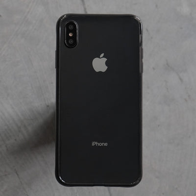 Bare Back Minimlist Shock Resistant Case with a Clear Glass Back for iPhone XS and XS Max - Black