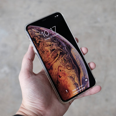 Bare Back Minimlist Shock Resistant Case with a Clear Glass Back for iPhone XS and XS Max