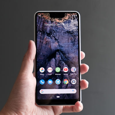 Bare Pane - Full-Coverage Tempered Glass Screen Protector with Full Adhesive for Google Pixel 3 XL on Screen