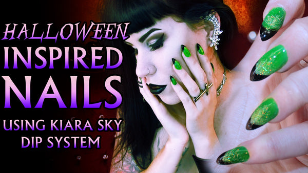 Halloween inspired GREEN & BLACK nail tutorial feat. Kiara Sky Dip System