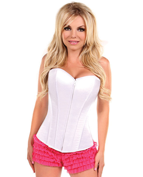 Overbust Corset W-zip Up Front White Lg