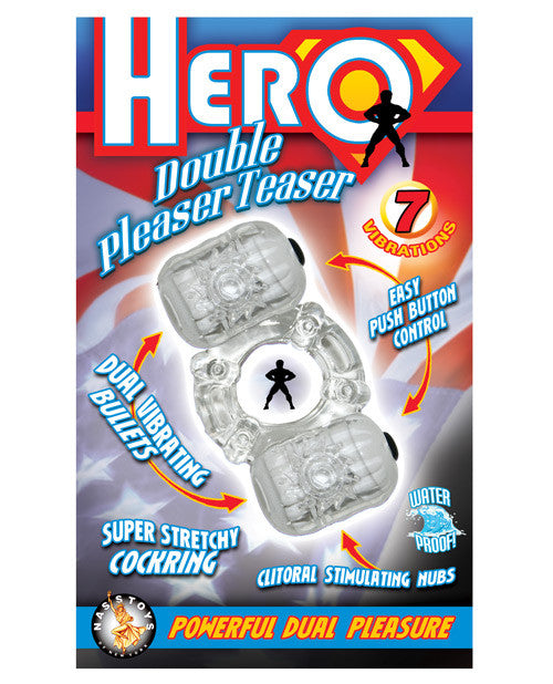 Hero Double Pleaser Teaser Cock Ring - Clear