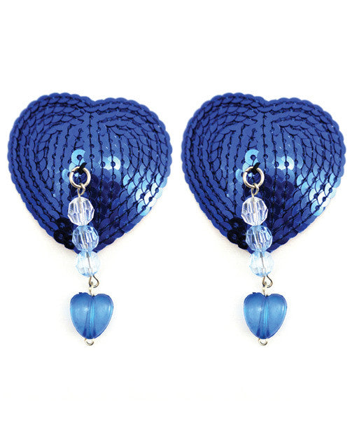 Sequin Nipple Covers Heart W-beads And Heart Charm - Blue