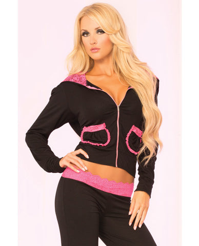 Pink Lipstick Loungewear Lace Trim Cropped Hoodie Black Md