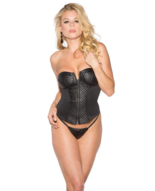Pleather Corset W-zip Up Front Black Xl