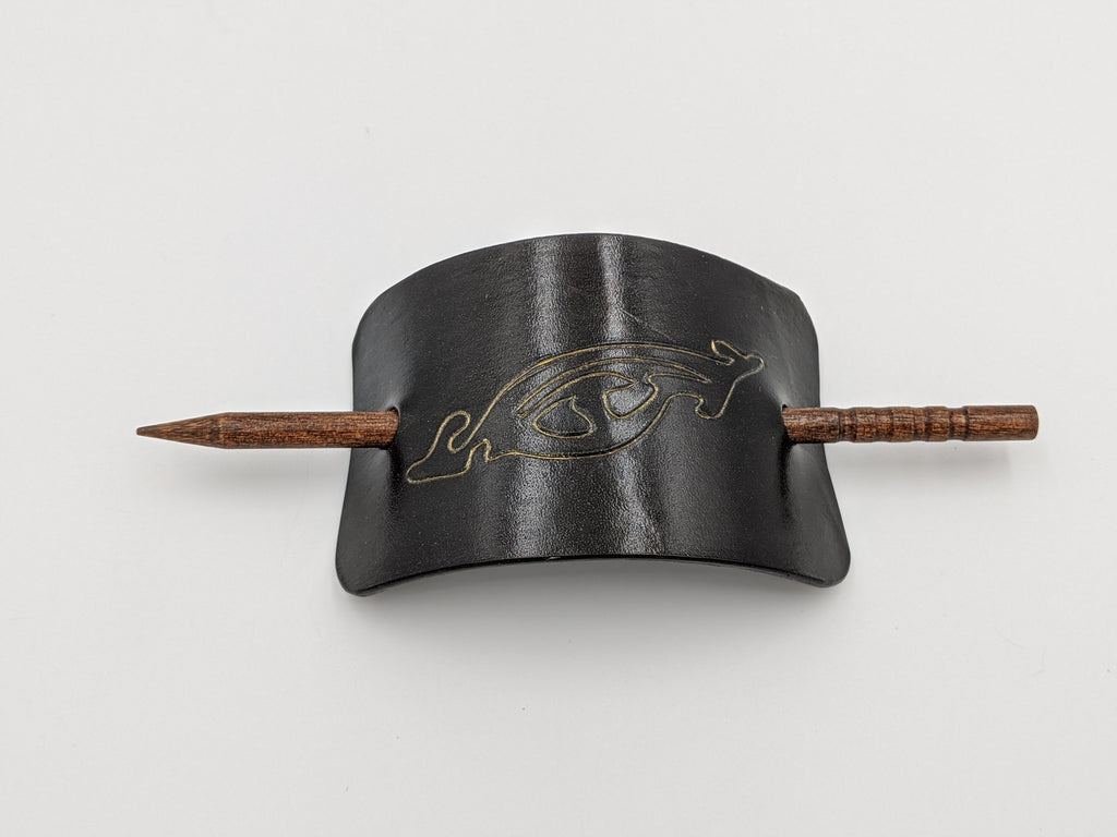 Leather hair barrette Lord of The Rings theme, small